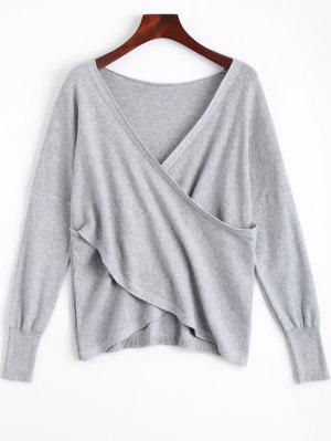 V Neck Crossed Front Sweater - Gray Xl
