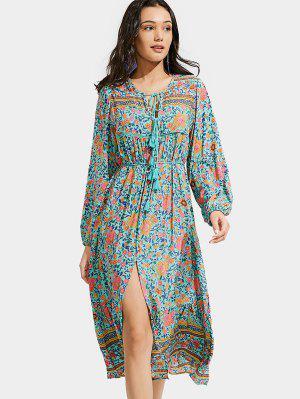 Front Slit Floral Tassels Long Sleeve Dress - Floral - Floral L
