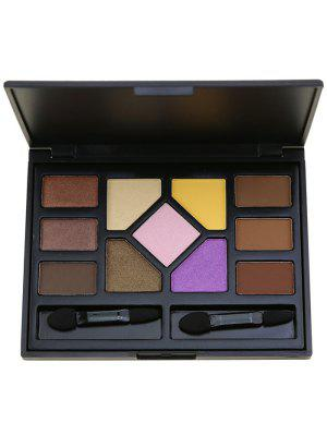 11 Colors Eyeshadow Brow Powder Palette With Brushes - Black