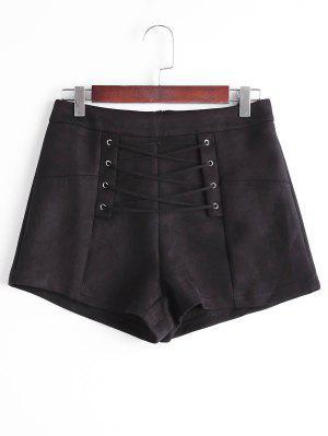 Pantalones Cortos De Encaje Alto - Negro L