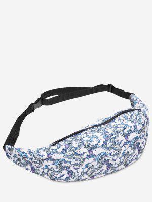 Cremallera Animal Impresión Cintura Bolsa - Blanco