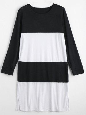 Dos Tonos De Manga Larga Más Vestido De Tamaño - Blanco Y Negro 5xl