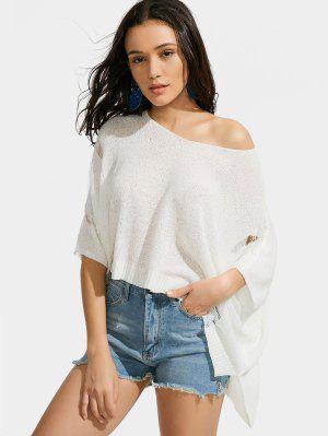 Oversized Ripped Asymmetrical Knitwear - White - White