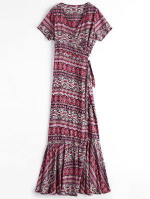 Printed Flounces Wrap Maxi Dress - Rouge - Rouge