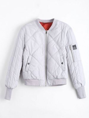 Patched Zip Up Padded Jacket - Gray S