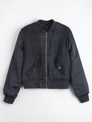 Gathered Sleeve Zip Up Bomber Jacket - Stone Blue S