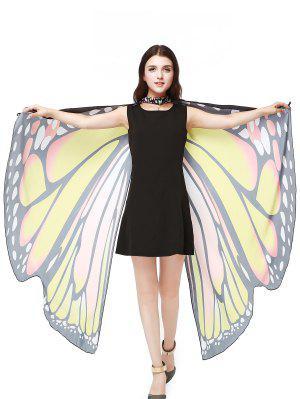 Chiffon Butterfly Strap Shape Wing Cape - Yellow