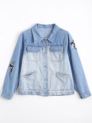 Ombre Bird Embroidered Denim Jacket - Denim Blue - Denim Blue S