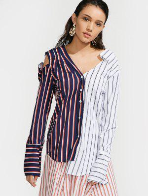 Contrasting Stripes Cutout Asymmetrical Shirt - Stripe - Stripe L