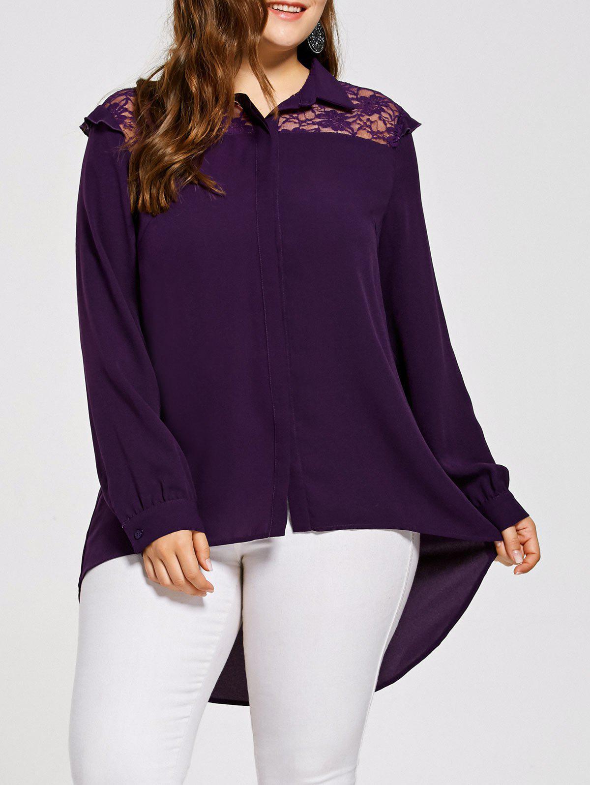 Plus Size Lace Yoke High Low Hem Bluse