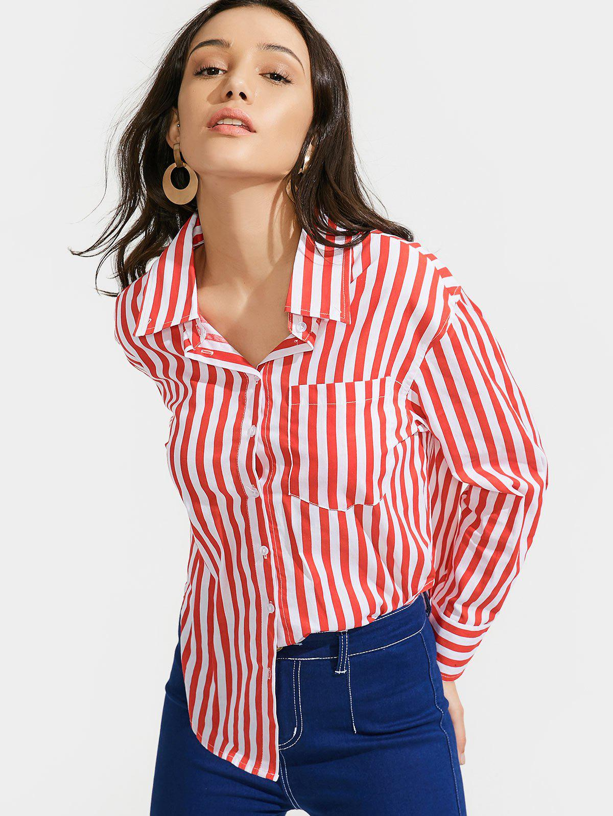 High Low Stripes Shirt with Pocket 221895901