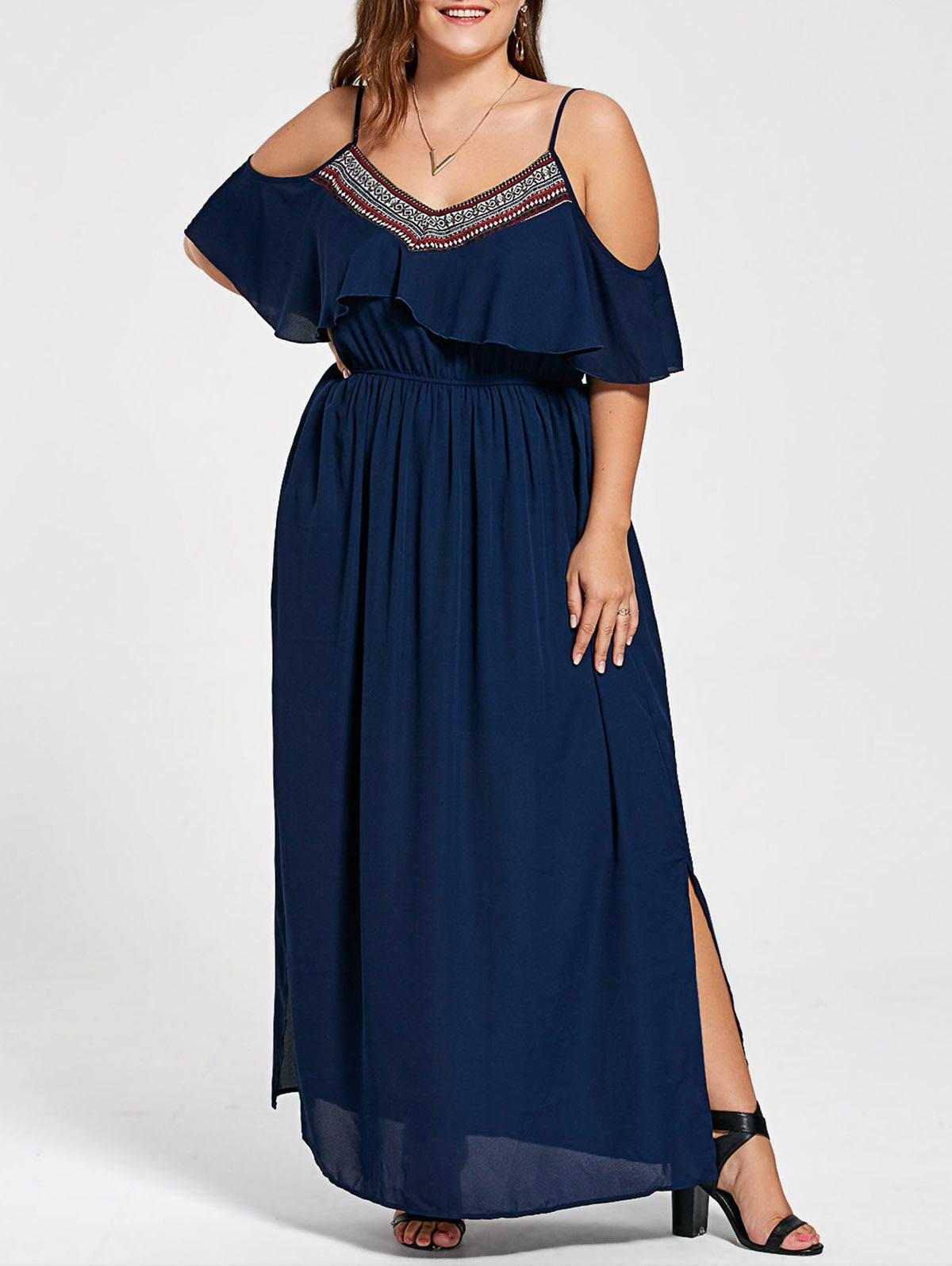 Plus Size Cold Shoulder Side Slit Flowing Dress 220478904