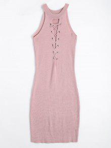 Knitting Lace Up Bodycon Dress - Pink