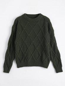 Suéter Transparente De Diamante Suelto - Verde Del Ejército