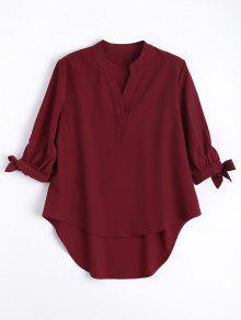 Bow Tied Sleeve High Low Blouse - Wine Red S