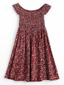 Mini Vestido De Hombro Florido Mini Vestido - Vino Rojo Xl