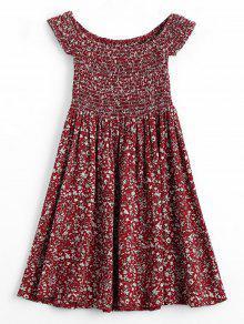 فستان طباعة الأزهار المصغرة سموكيد بلا اكتاف مصغر - نبيذ أحمر S