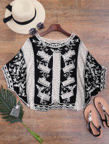 Encubrimiento De Batwing Crochet Bordado - Negro