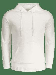 Drawstring Kangaroo Pocket Plain Hoodie WHITE: Hoodies ...