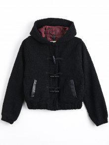 Wool Lamb Hooded Duffle Jacket - Black L