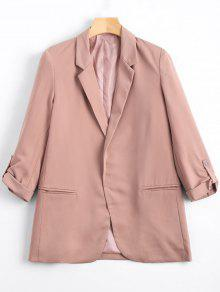 Lapel Buttoned Tabs Sleeve Blazer - Pink S