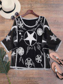 Mesh Panel Stars Embroidered Batwing Cover-up - Black