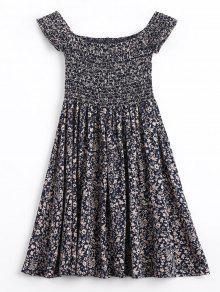 فستان طباعة الأزهار المصغرة سموكيد بلا اكتاف مصغر - الأرجواني الأزرق M