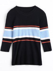 Half Sleeve Color Block Knitwear - Black