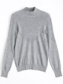 Metallic Button Mock Neck Sweater - Gray