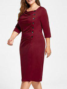 Skew Collar Plus Size Button Rüschen Kleid - Rot 3xl