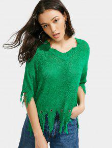 Loose Distressed V Neck Sweater - Green