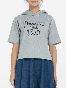 Hooded Thingking Out Loud Graphic Top - Feather Gray S