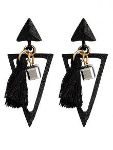 Metal Triangle Bohemian Tassel Earrings - Black