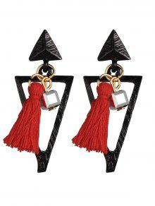 Metal Triangle Bohemian Tassel Earrings - Red