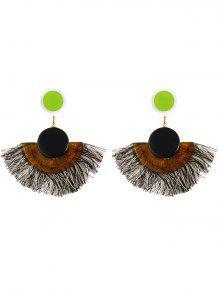 Tassel Bohemian Clip On Earrings - Black
