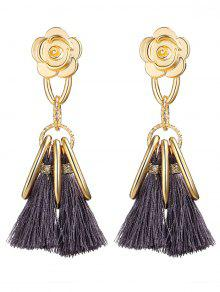 Alloy Flower Circle Tassel Vintage Earrings - Gray