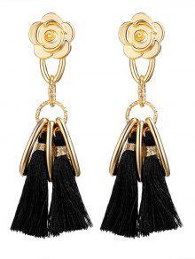 Alloy Flower Circle Tassel Vintage Earrings - Black