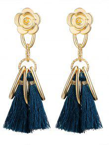 Alloy Flower Circle Tassel Vintage Earrings - Blue