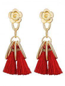 Alloy Flower Circle Tassel Vintage Earrings - Red