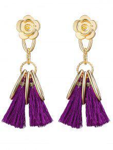 Alloy Flower Circle Tassel Vintage Earrings - Purple
