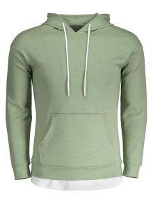 Drawstring Kangaroo Pocket Plain Hoodie - Light Green L