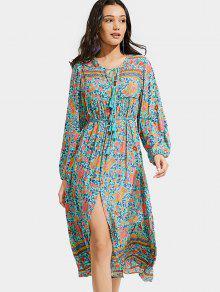 Front Slit Floral Tassels Long Sleeve Dress - Floral L