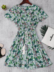 Smocked Floral Button Up A Line Dress - Green Xl