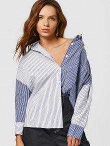 Color Block Striped Boyfriend Shirt - Blue M
