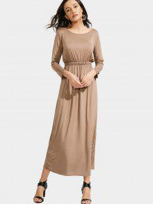 Long Sleeve Elastic Waist Maxi Dress - Khaki S