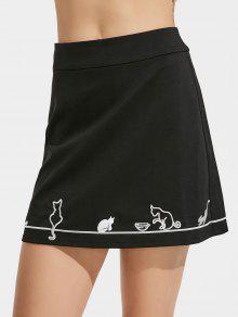 Cute Cat Embroidered A Line Mini Skirt - Black Xl