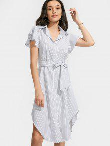 Belted Stripes Button Up Shirt Dress - Stripe M