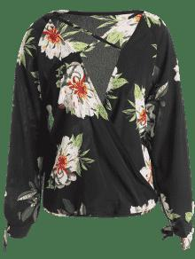 Negro Seda De Con L Blusa Bajo De Tiras Corte Floral 58SORvn4
