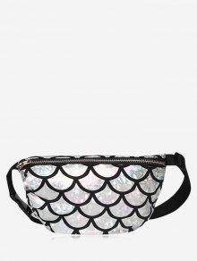 Zipper Scale Pattern Waist Bag - Silver