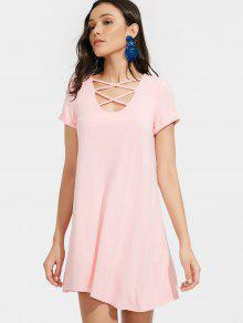 Tuinc Criss Cross T Shirt Dress - Pink S